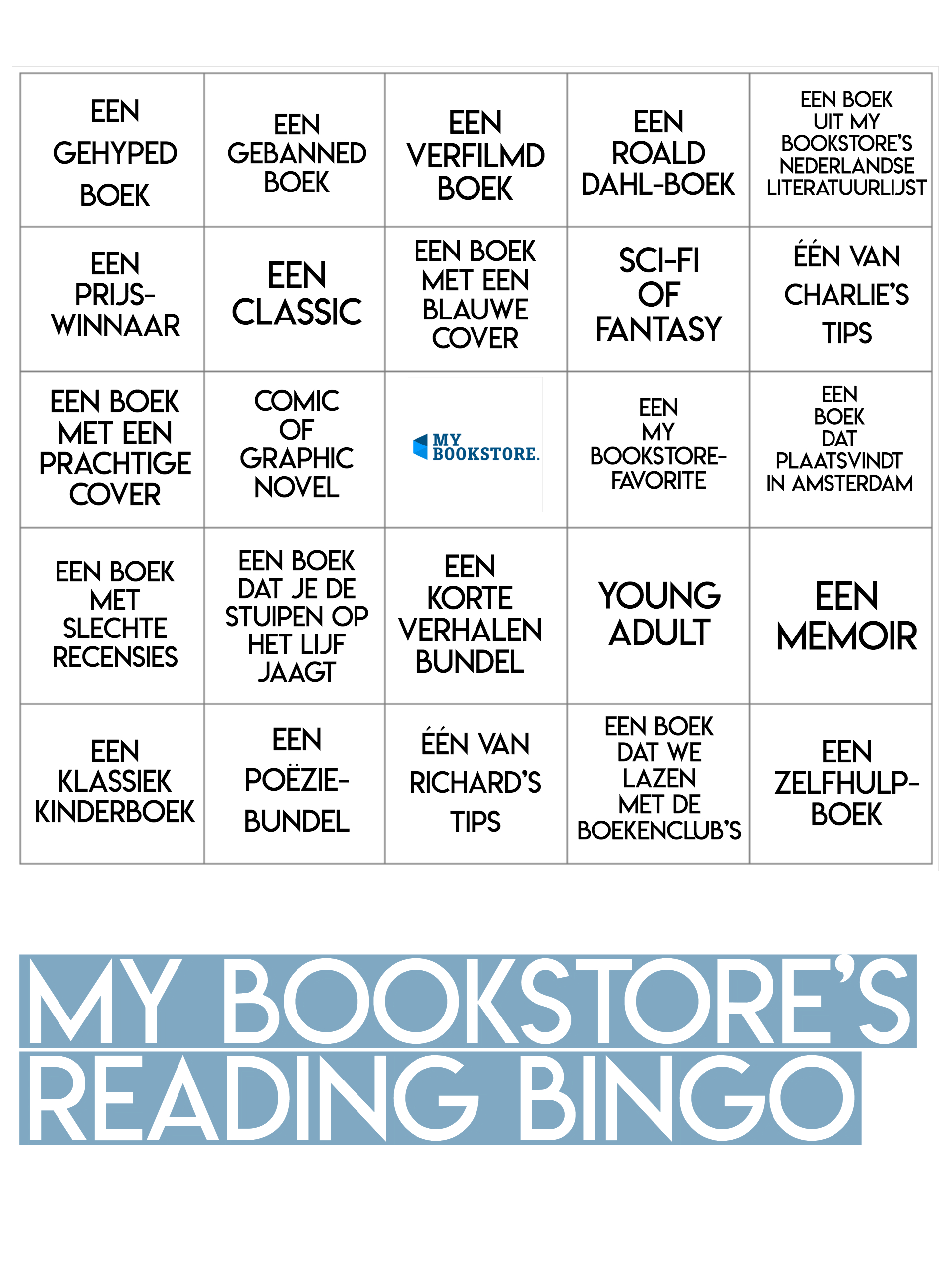 My Bookstore's Reading Bingo